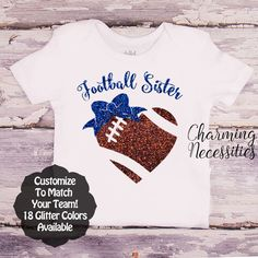 Football Sister Heart and Bow SS - Football Sister - Personalized Custom Colors Baby Toddler Girl Fan Top, Little Sister Shirt - Charming Necessities