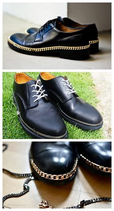 DIY Two Raf Simons Gold Plated Chain Derby Shoes Tutorials. For men but what a great idea for women.  Top Photo: $1,520 SOLD OUT Raf Simons Gold Plated Chain Derby Shoes here.  Middle Photo:Tutorial from DO or DIY here.*Uses zippers as trim.  Bottom Photo:DIY Tutorial from The Dandy Project here.*Uses chain trim.