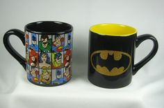 Batman and Justice League Mug Set Both mugs are made from ceramic. Hand-wash is recommended.