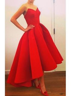 High Low Red Satin Short Prom Dresses, Red Prom Dresses,Red Ball Gown Prom…