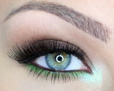"""Edgy and Fun Eye Makeup ~ Products used on eyelid, MAC """"Moth Brown"""" Eyeshadow {shimmery gray/brown} and on lower lash line, Sugarpill Cosmetics """"Absinthe"""" loose powder eyeshadow {bright/shimmery lime green}"""