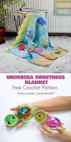 Undersea Sweetness Blanket Free Crochet Pattern Source by yourcrochetonly Crochet Afghans, Crochet Blanket Patterns, Baby Blanket Crochet, Crochet Stitches, Knitting Patterns, Crochet Blankets, Crochet For Kids, Free Crochet, Knit Crochet