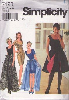 MOMSPatterns Vintage Sewing Patterns - Simplicity 7128 Retro 90's Sewing Pattern FANTASTIC Retro 60s Mad Men Style Red Carpet Evening Gown, Square Neck Cocktail Party Dress, Sheer or Contrast Tie On Overskirt Skirt Size 12-16