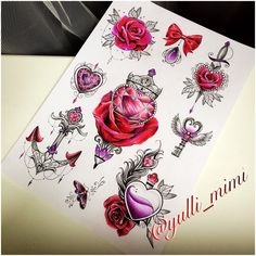 #jdtattoostudio #tattoo #rose #heart #rosetattoo #hearttattoo #key #wing #diamond #эскиз #sketch