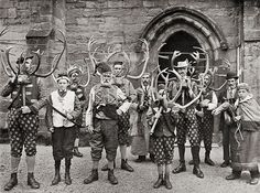 Horn Dance  Photograph by Sir John Benjamin Stone (1838-1914), c. 1900. This image depicts the dancers of the Abbots Bromley Horn Dance, an English folk dance which dates back to the Middle Ages. The dance takes place each year in Abbots Bromley, a village in Staffordshire, England. The modern version of the dance involves reindeer antlers, a hobby horse and a Fool or Jester.