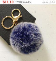 Semi-Annual Sale New! Frosted blue Fur pom pom keychain fur ball bag pendant charm