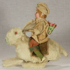 Easter Bunny with Rider & Wind Up Hopping Mechanism c1910