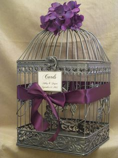 Gray Birdcage Wedding Card Box / Eggplant / by SouthburyTreasures