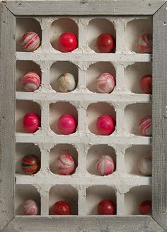 Joseph Cornell (American, 1903–1972)  Untitled, date unknown  wood, glass, rubber balls and plaster  14 13/16 x 11 x 2 5/16 inches