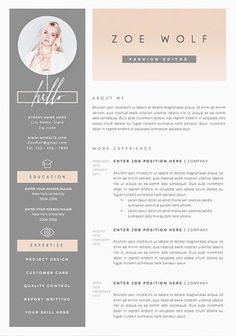 Resume Template and Cover Letter + References Template for Word Best Free Resume Templates, Simple Resume Template, Resume Design Template, Design Resume, Cv Template Student, Cv Curriculum, Basic Resume, Visual Resume, Cv Inspiration