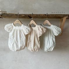Monbebe Aroma Romper (White) – Greenberry Kids Simple Dresses, Summer Dresses, Korean Shoes, Slim And Fit, Balloon Shapes, Korean Brands, Summer Romper, Beautiful Babies, Embroidery Stitches