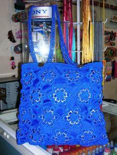 Crochet pop tab flower purse. Instructions for flowers and attaching.