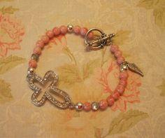 Sideways Cross Bracelet Pink Beads