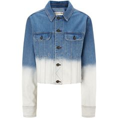 Rag & Bone Blue Ombre Cropped Denim Jacket ($110) ❤ liked on Polyvore featuring outerwear, jackets, denim jacket, long sleeve crop jacket, rag bone jacket, pocket jacket and ombre jacket