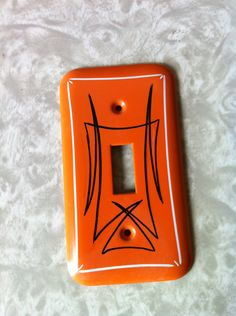 Vintage metal pinstriped light switch cover (orange, black and white) Painted Signs, Hand Painted, Pinstripe Art, Man Cave Art, Pinstriping Designs, Sign Painting, Garage Art, Paint Stripes, Custom Paint Jobs