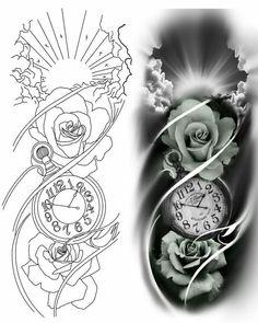 Half Sleeve Tattoo Stencils, Rose Tattoo Stencil, Half Sleeve Tattoos Drawings, Rose Drawing Tattoo, Full Arm Tattoos, Tattoo Sleeve Designs, Flower Tattoo Designs, Shiva Tattoo Design, Tattoo Design Drawings