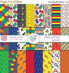 Autism Awareness Ribbon Cancer Ribbon Clipart digital papers: This set includes 24 digital patterns. This paper pack is just what you need for printable projects, paper craft, digital scrapbooking, backgrounds for blogs, photo albums, scrapbooks and many more creative projects & events