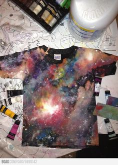 Use acrylic paint and bleach to make this awesome t-shirt. (Loving this galaxy DIY, I wanna do this to leggings!) on a dress?