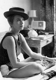 Jean Seberg in Breathless  my obsession in my teens  wrote a 15 pg paper on her,   read Diana by Carlos Fuentes (a must read- about their affair)