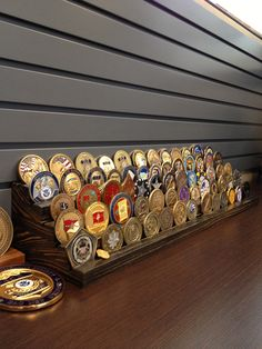 23 inch 5 tier Solid Wood Challenge Coin Holder by Challenge Coin Holder, Challenge Coin Display, Military Challenge Coins, One Coin, Coin Collecting, Solid Wood, Challenges, Take That, Woodworking Ideas