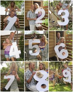 DIY Wedding Photo Table Numbers ! Cut out large cardboard numbers and pose for the camera :) Our guests went crazy over these