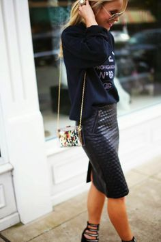 Wardrobe inspiration - leather pencil skirt paired with sweatshirt contrasting texture top
