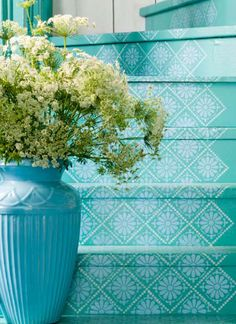 No stair runner? how about these turquoise stenciled stairs instead- love! Love for outside stairs