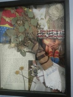 Michaels memory box with my dried bridal flowers and a few memory items to remember the day by and display in our home.