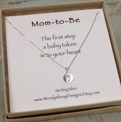New Mom jewelry,  new mom necklace - tiny sterling silver small circle necklace with baby foot print - minimalist jewelry, baby shower gift on Etsy, $36.00