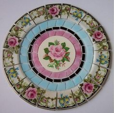 RARE CHINA MOSAIC TILE SET ~ SHABBY VINTAGE PINK ROSE BLUE BIRD STAINED GLASS 7""
