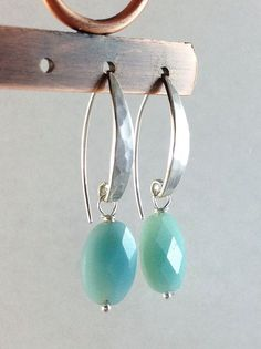 Light Blue Stone Earrings, Oval Aqua Amazonite Gemstones, Hammered Silver French Hooks