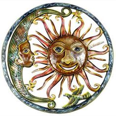Handmade Painted Sun and Moon Metal Wall Art- 24 inches (Haiti) | Overstock.com Shopping - Top Rated Global Crafts Wall Hangings