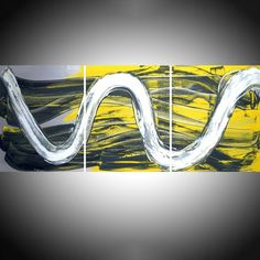 Yellow Affinity triptych yellow and black original painting abstract wall canvas art 20 x 48 inches Acrylic painting by Stuart Wright Large Wall Canvas, 3 Piece Canvas Art, Extra Large Wall Art, Canvas Wall Art, Three Canvas Painting, Hand Painting Art, Large Painting, Modern Art Paintings, Original Paintings