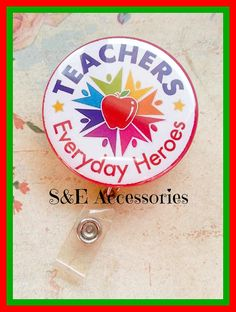 Adorable Teachers Button Badge Reel   Teacher by SandEAccessories, $6.00