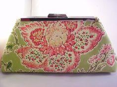 Pink & Green Flower Clutch by MollyMolStudios on Etsy, $24.99