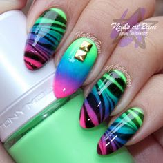 Nails At 2am: NOTD: Neon Gradient + Watermarble