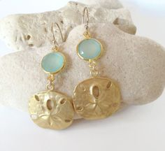 Sand Dollar Earrings Aqua Earrings beach wedding by AinaKai, $69.00
