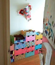 I have so many of these stackable apple cardboard crates I could cover! DIY Stackable Cardboard Dressers for Kids (made from recycled kiwi boxes) Cardboard Storage, Cardboard Furniture, Cardboard Crafts, Diy Storage, Cardboard Boxes, Storage Boxes, Recycled Crafts, Diy Crafts, Diy For Kids