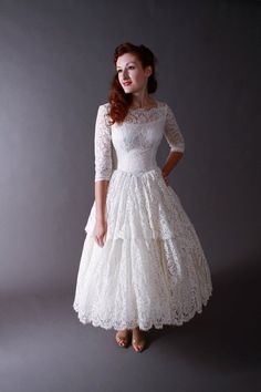 Lace Tea Length Wedding Dress with Long Sleeves