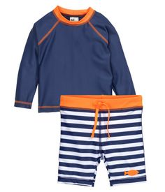 Swim shorts and long-sleeved swim top in UV-protective material. Shorts with elasticized drawstring waistband and lined front. UPF 50.