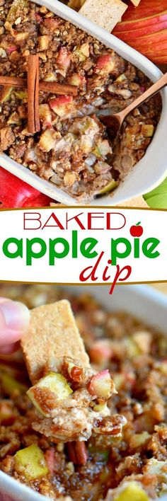 This easyBaked Apple Pie Dip is made with fresh apples, cream cheese, brown sugar and spices! Topped with a pecan-graham cracker streusel, it's perfect for a party, after-school snack or easy dessert. This is one recipe I plan on making every chance I get! // Mom On Timeout
