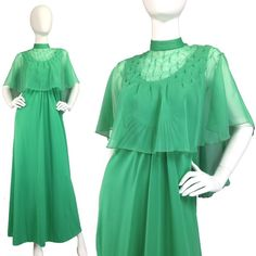 VINTAGE MAXI DRESS 70s Gown + Cape + BLING Get ur fancy girl cued up cuz this 70s dress set packs loads of posh charm + a lil bling! *-*  DRESS: •Seafoam green soft stretch poly •Ruched U-shaped empire bodice  •A-line skirt •Rear zip  CAPE: •Matching sheer chiffon •Pin-tucked + rhinestone bling •Stand collar •Rear hook closure  •V good vtg condition  DRESS: •Bust:34-36(stretchy) •Waist:free •Hips:free •Length:56  CAPE: Free fit  💟Suggested User 💟Top Rated Seller 💟Fast Shipping…