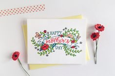 Inspired by nature and going to the market, this card features a lovely banner covered in wild flowers and leaves. With a hand painted look, the card sends a beautiful wish for a Happy Mother's Day! P