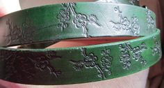 1 1/4 inch Green Ring Belt with Floral by EarthlyLeatherDesign, $35.00