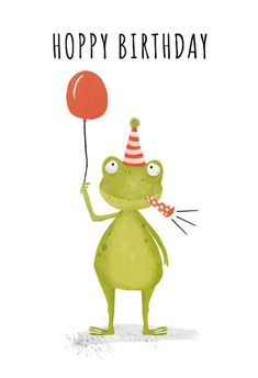 'Hoppy frog' - Birthday card template you can print or send online as eCard for free. Personalize with your own message, photos and stickers. Happy Birthday Frog, Happy Birthday Wishes For Him, Free Birthday Card, Birthday Card Template, Happy Birthday Images, Happy Birthday Greetings, Funny Birthday Cards, Birthday Ideas, Birthday Cake