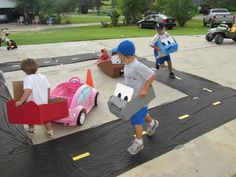 Cars racing track! Perfect for a birthday party.