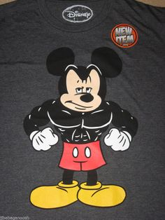 MICKEY MOUSE Weightlifting BODYBUILDING Disney movie CARTOON New MEN'S T-Shirt #Disney #GraphicTee