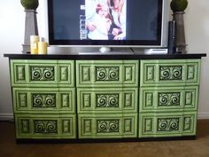 NOT ugly anymore!!!! after green paint and black glaze. this was a laminate piece.