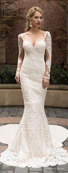 Naama and Anat Wedding Dress Collection 2019 - Dancing Up the Aisle - Merengue a elegant fitted long sleeves deep sweetheart neckline bridal gown with plunging back, full embellishment and cowl back sweep train #weddingdress #weddingdresses #bridalgown #bridal #bridalgowns #weddinggown #bridetobe #weddings #bride #weddinginspiration #weddingideas #bridalcollection #bridaldress #fashion #dress