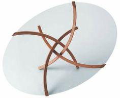 Ovale Couchtische holz glas schick linien